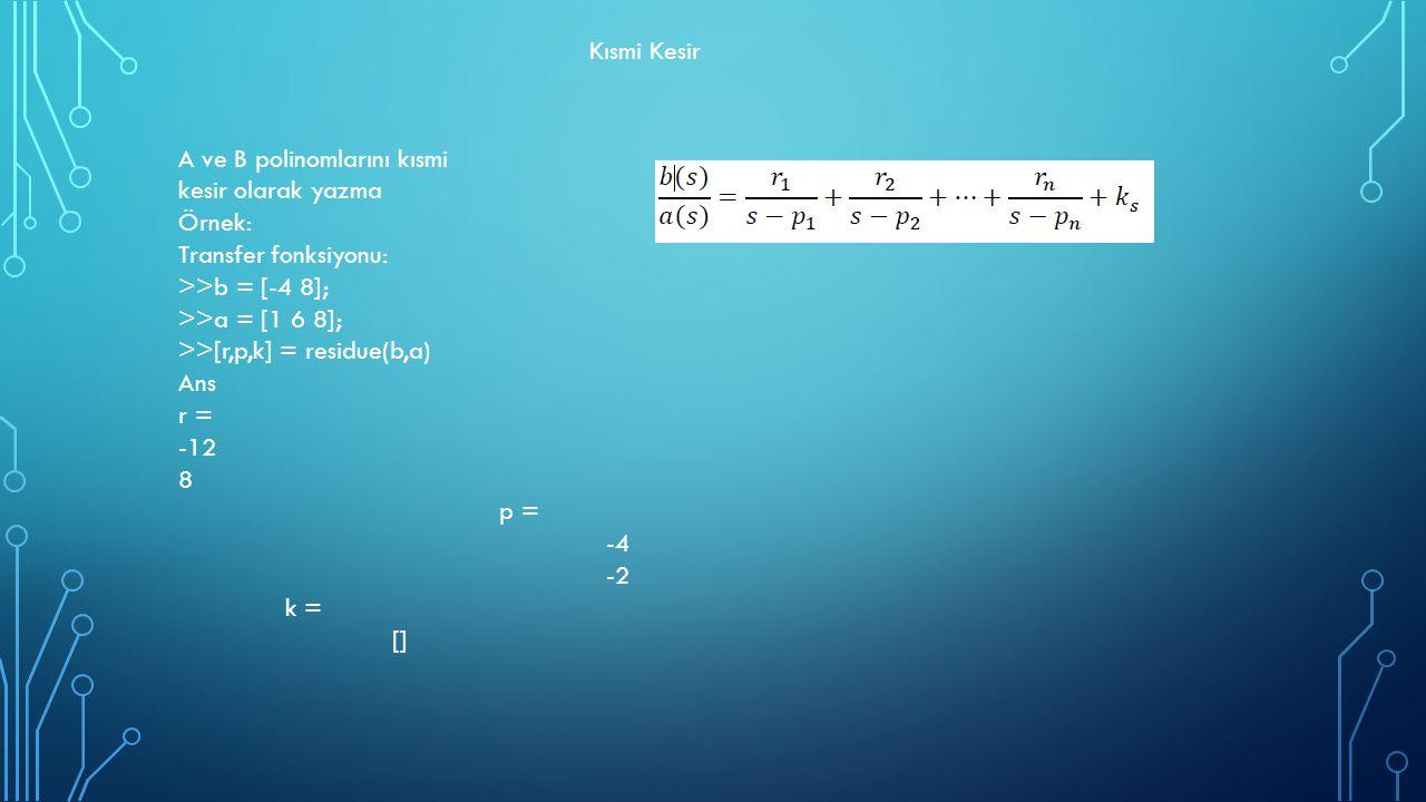Kısmi Kesir A ve B polinomlarını kısmi. kesir olarak yazma. Örnek: Transfer fonksiyonu: >>b = [-4 8];